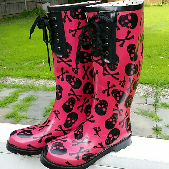80% off Betsey Johnson Boots - Betsy Johnson skull rain boots ...