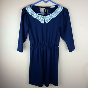 Everly Blue Dress with Lace Collar