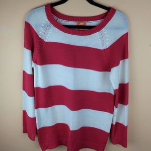 Reddish pink striped sweater