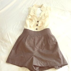Other - Cream and light brown ruffle romper - sz M