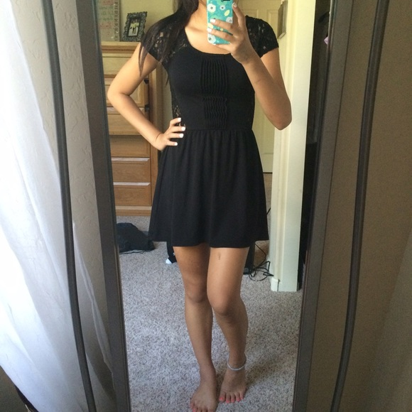H M Dresses   Skirts - H M Black and Lace Skater Dress d2fc8998e