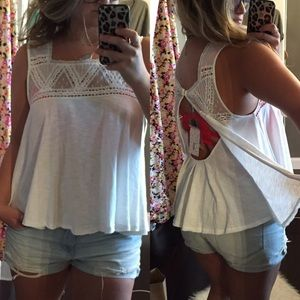 Free People White Open Back Top