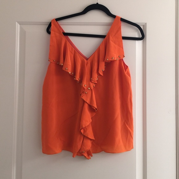 84 Off Anthropologie Tops Festive Orange Silk Top From