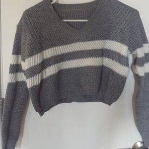 Grey sweater crop top