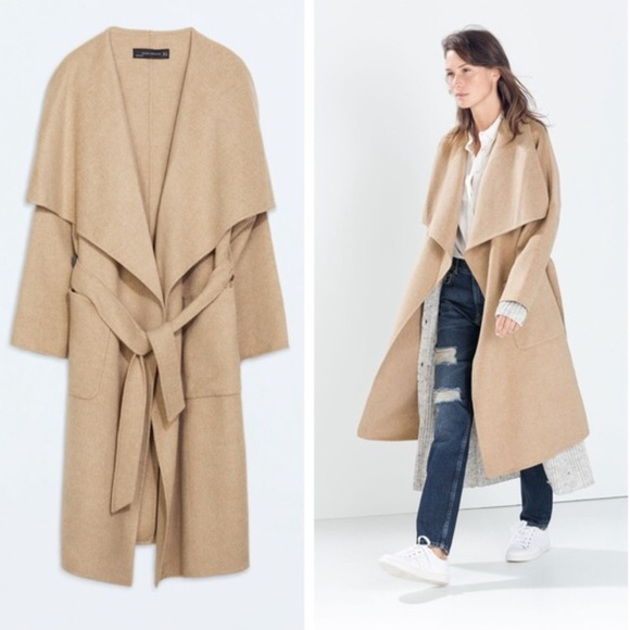 Zara - New ZARA camel wool trench coat jacket small from Alison's