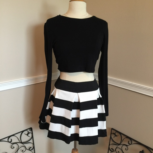 Black White Striped Skirt - Skirts