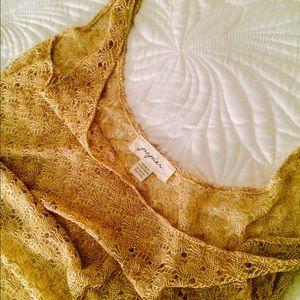 Anthropologie Tops - ✨SALE✨anthropologie | gold crochet tank top