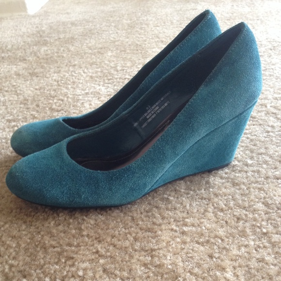 60 merona shoes teal merona wedge heels 6 5 from