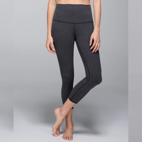 a6a286c53d8d64 lululemon athletica Pants - Lululemon Wunder Under Crop Cotton Roll Down  Gray