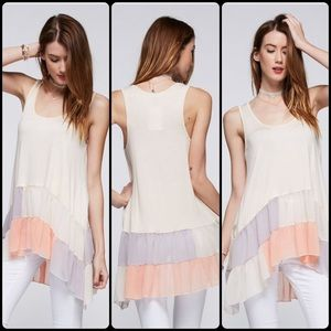 Tillie Creek Clothing Tops - Chiffon Color Block Tank With Ruffle