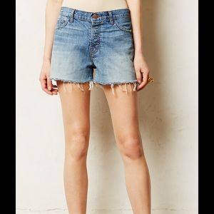 J Brand Blue Carly Shorts in reflection