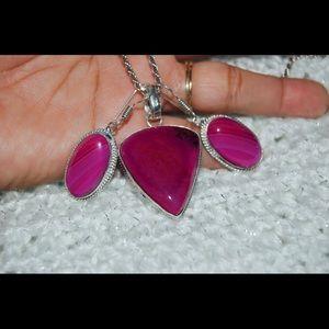 handmade & handcrafted gemstone jewelry Jewelry - Dendritic Agate Pendant & Earrings Statement Set