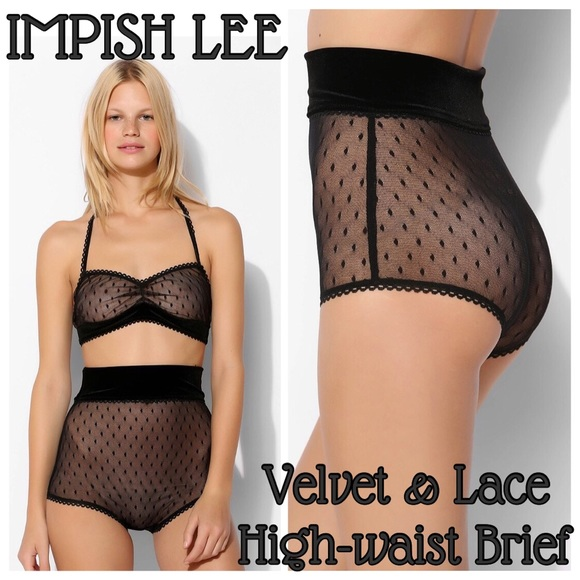 491a0f8e49c85 Urban Outfitters Other | Impish Lee Velvetlace Highwaited Briefs ...