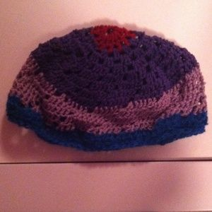 Colorful, crocheted beanie