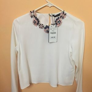 Zara Blouse with a fashion statement necklace