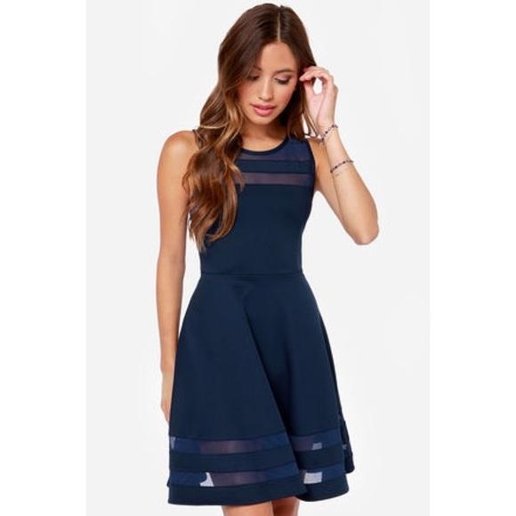 2db7b6b8a198 Lulu s Dresses   Skirts - navy blue skater dress with sheer panels