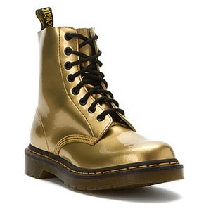Shiny Metallic Gold Dr Doc Martens lace up boots