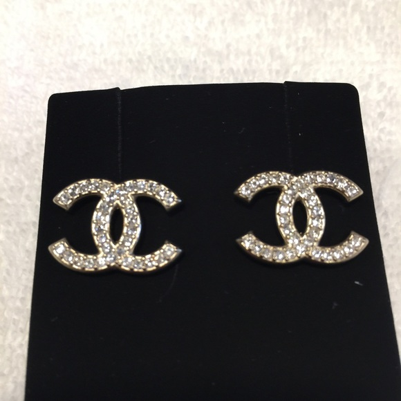 chanel chanel classic gold cc stud earrings from phuong