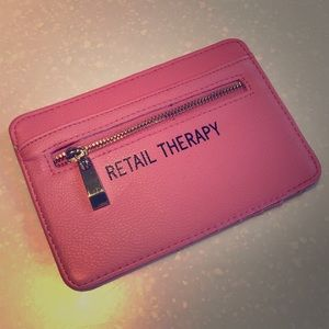 Accessories - 'Retail Therapy' Pink Card Wallet