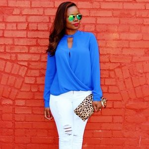 andb Tops - Rich Blue Draped Blouse