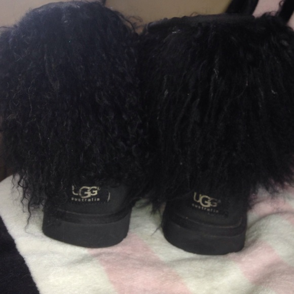 Ugg Black Mongolian Sheep Fur Uggs
