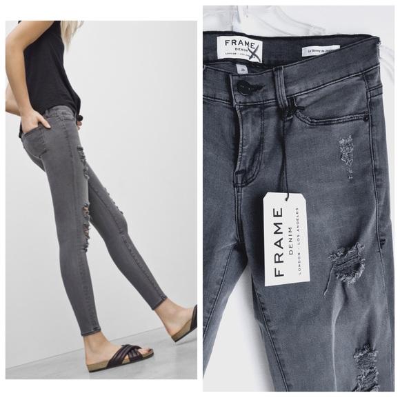 frame jeans frame denim grey colored le skinny de jeanne