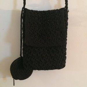 Vintage 90s black beaded knit bag
