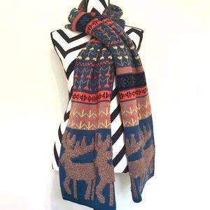 Accessories - •HP!• Blue and Orange Moose Accent Scarf