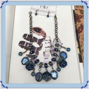 Jewelry - 🎄NWT Crystal Blue Statement Necklace Set.