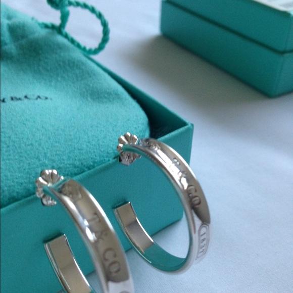 ea5724cec ... tiffany sterling silver hoop earrings; jewelry tiffany co. 1837 silver  hoop earrings authentic ...
