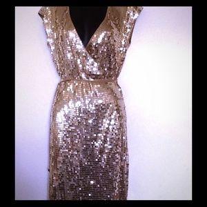 MICHEAL KORS DRESS GOLD SEQUN WRAP DRESS