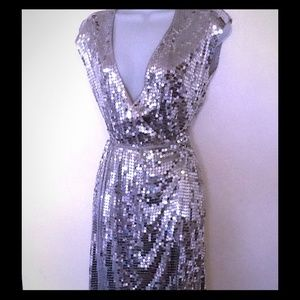 MICHEAL KORS WRAP DRESS SIZE SMALL SILVER SEQUIN