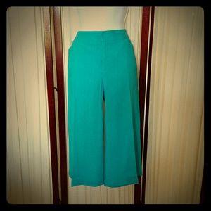 AB Studio Pants - Linen/Rayon Turquoise Capri Pants
