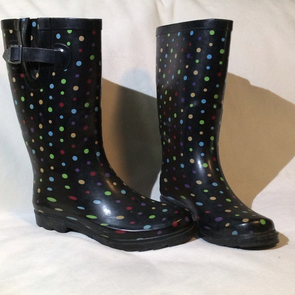 50% off Merona Boots - Black with multi color polka dots rain