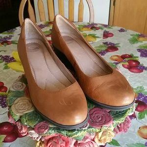 Nurture brown leather wedges