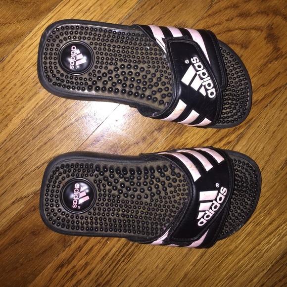 adidas shoes black and light pink slides poshmark