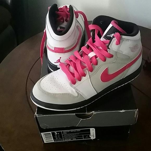 the latest 51d66 2da8d Hot Pink Nike Kids Air Jordan High Tops