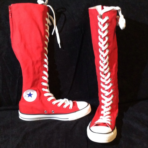 8de4ca14eaaf Converse Shoes - Red knee high Converse All Stars.