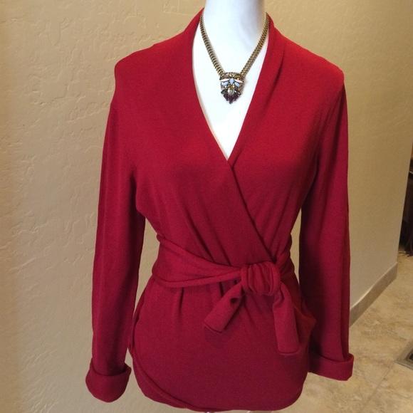 69% off CAbi Sweaters - CAbi Red Silk/ Cotton/Spandex Wrap Sweater ...