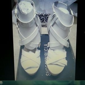 White Patent Leather Gladiator Platform Wedges 9