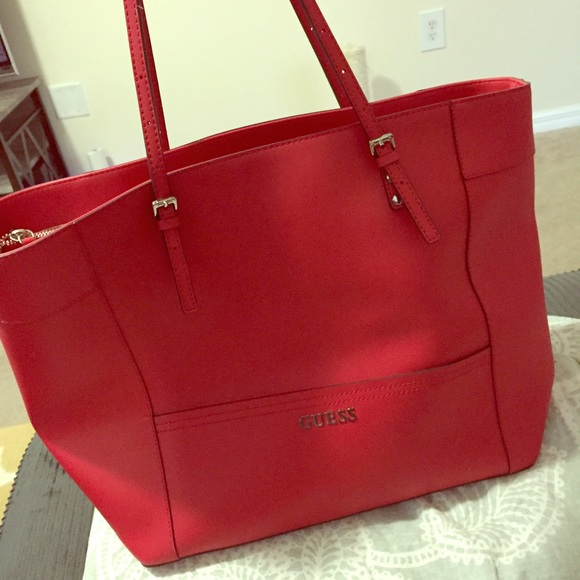 01917245200 Guess Handbags - GUESS large red leather bag