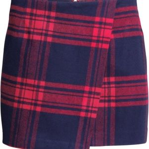 81e34f65ae H&M Skirts | Red And Blue Plaid Wrap Front Skirt | Poshmark