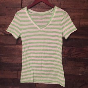 Green/white strip shirt