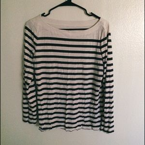 Boat neck striped long sleeve top