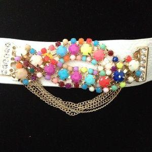 Jewelry - 100% white leather cuff bracelet