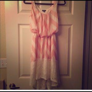 Pink and white chevron dress
