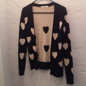 Sweaters - Heart print cardigan