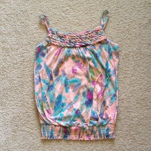 Daytrip Multi-Color Pink Teal Feather Tank Top M
