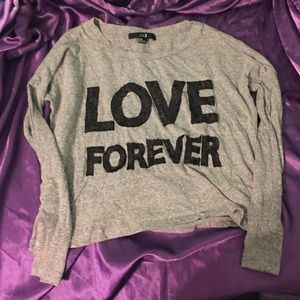 "F21 ""Love Forever"" long sleeve crop"