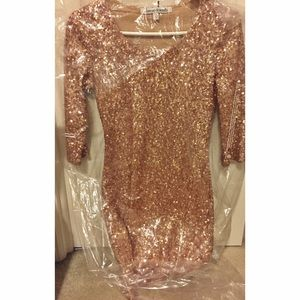 Lovers + Friends Rose Gold Bodycon Dress